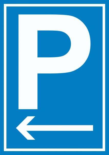 P Parkplatz Schild mit Pfeil nach links