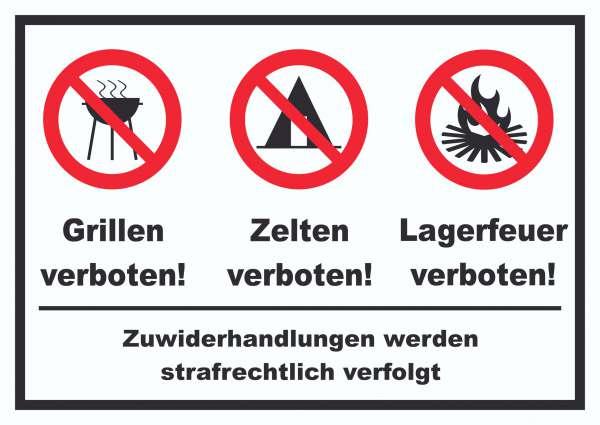 Grillen Zelten Lagerfeuer verboten Schild