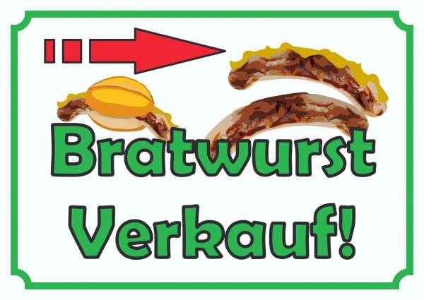 Bratwurst Verkaufsschild mit Pfeil nach rechts