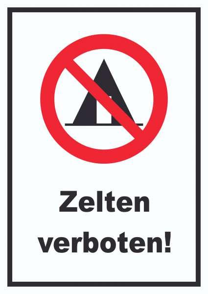 Zelten verboten Schild