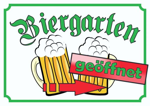 Biergarten geöffnet Schild Pfeil rechts