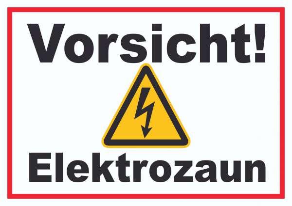 Vorsicht Elektrozaun Weidezaun Schild