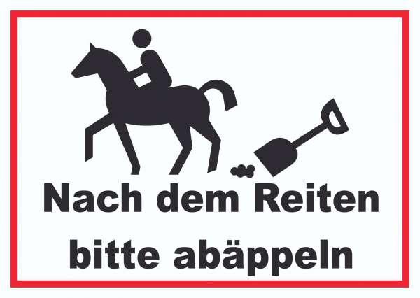 Bitte abäppeln Schild Pferde, Reitplatz