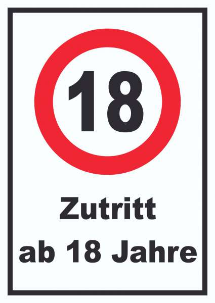 Zutritt ab 18 Jahre Schild