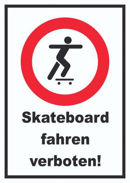 Skateboard fahren verboten Schild