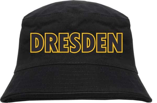 Dresden Fischerhut Blockschrift schwarz gelb