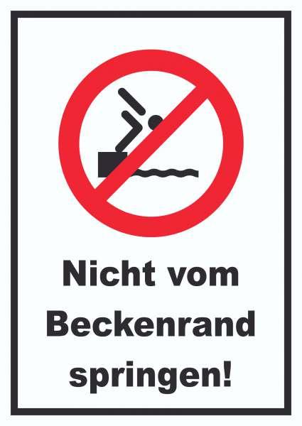 Nicht vom Beckenrand springen Schild