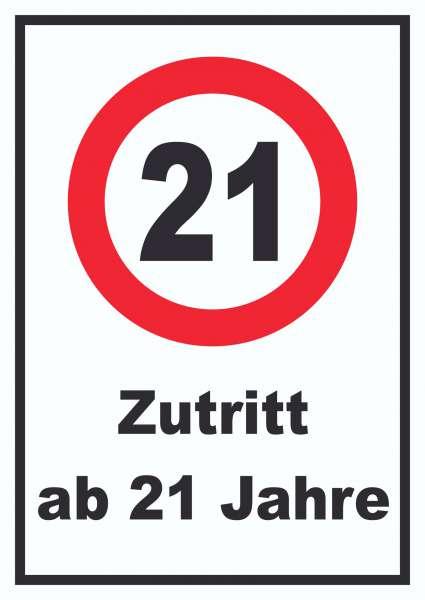Zutritt ab 21 Jahre Schild