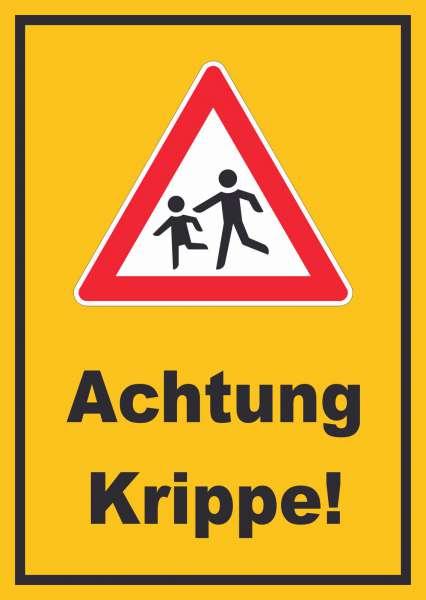 Achtung Krippe Schild