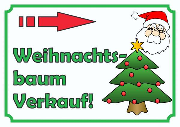 Verkaufsschild Weihnachtsbaum rechts