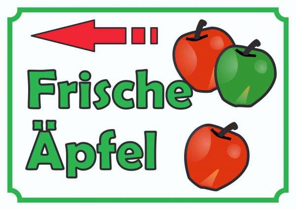 Verkaufsschild Äpfel links