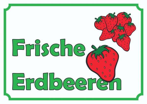 Verkaufsschild Erdbeeren