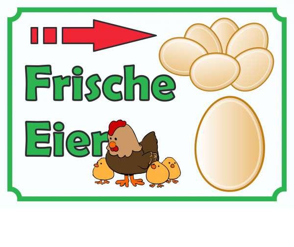 Verkaufsschild Eier rechts