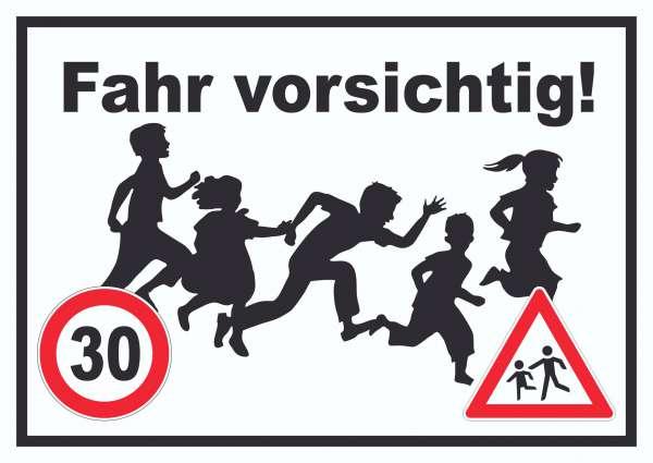 Fahr vorsichtig Schild 30 km/h Schild