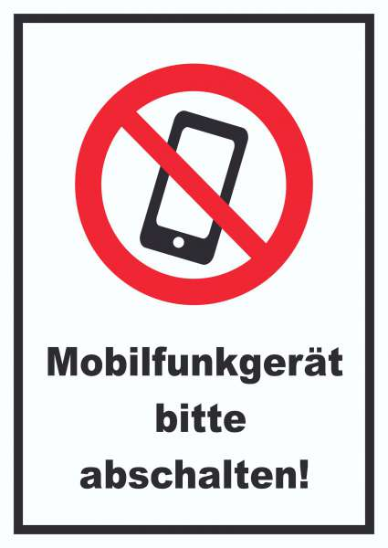 Smartphone Handy aus Mobilfunkgerät abschalten Schild