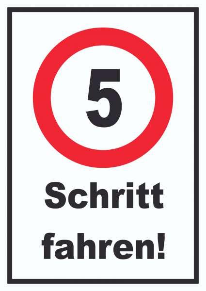 Schritt fahren 5 km/h Schrittgeschwindigkeit Schild