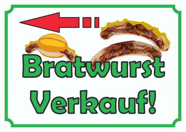 Bratwurst Verkaufsschild mit Pfeil nach links