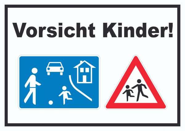 Vorsicht Kinder Spielstrasse Schild