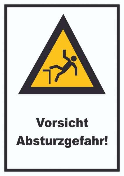 Vorsicht Absturzgefahr Verkaufsschild Schild