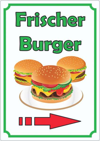 Frischer Burger Aufkleber Hochkant mit Pfeil rechts