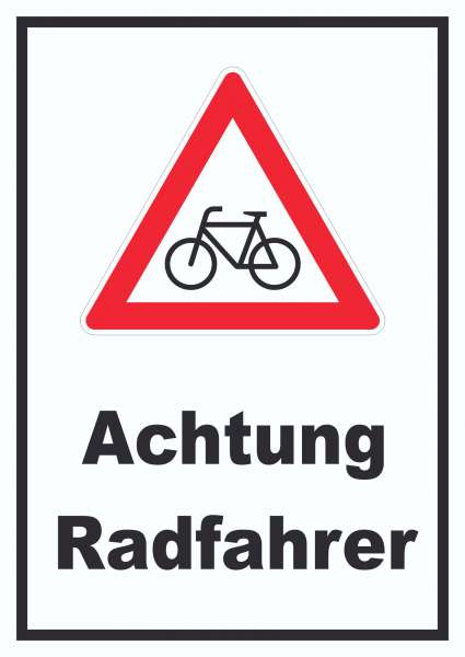 Achtung Radfahrer Fahrräder Schild