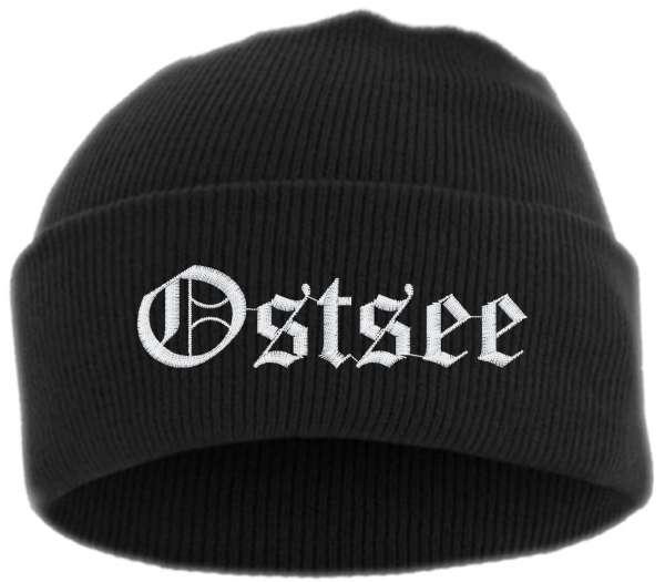 Ostsee Umschlagmütze - Altdeutsch - Bestickt - Mütze mit breitem Umschlag