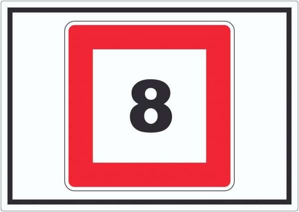 Höchstgeschwindigkeit 8 kmh nicht zu überschreiten Aufkleber mit Symbol