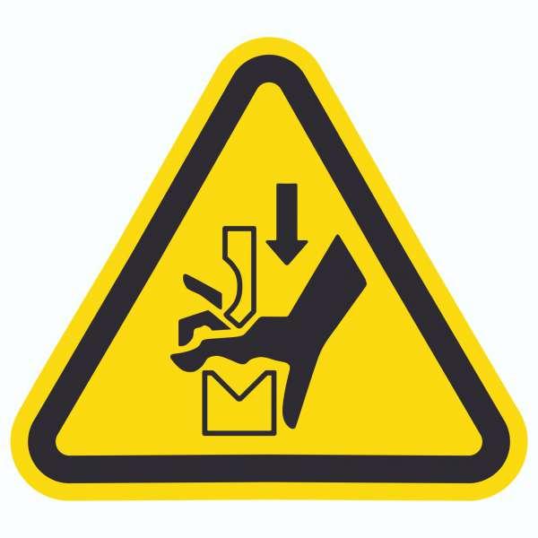 Achtung Quetschgefahr zwischen Werkzeugen einer Presse Symbol Aufkleber Dreieck
