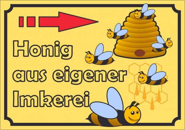 Werbeaufkleber Aufkleber Honig mit Pfeil nach rechts