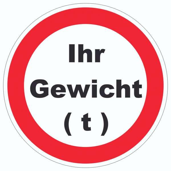 Durchfahrt verboten Aufkleber Kreis Wunschgewicht Symbol