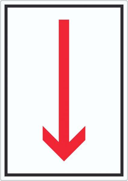 Richtungspfeil runter Aufkleber hochkant rot weiss schwarz Pfeil