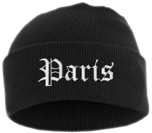 Paris Umschlagmütze - Altdeutsch - Bestickt - Mütze mit breitem Umschlag