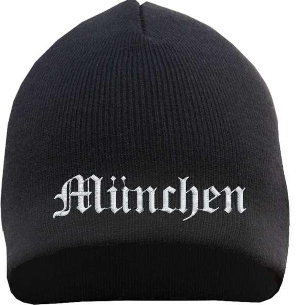 München Beanie Mütze - Altdeutsch - Bestickt - Strickmütze Wintermütze