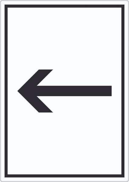 Richtungspfeil links Aufkleber hochkant schwarz weiss Pfeil