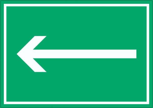 Richtungspfeil links Aufkleber waagerecht weiss grün Pfeil