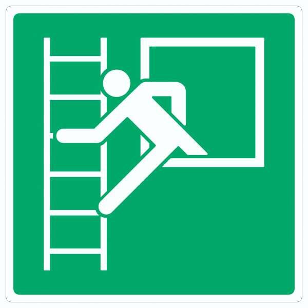 Notausstieg mit Fluchtleiter Symbol Aufkleber Quadrat