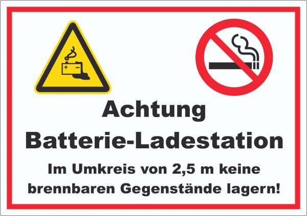 Achtung Batterie Ladestation Aufkleber
