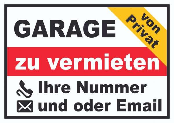 Garage zu vermieten von privat Schild