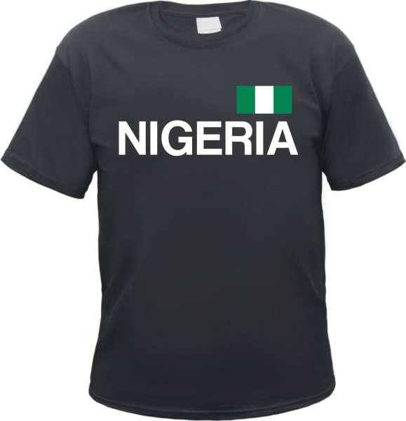 Nigeria Herren T-Shirt - Blockschrift mit Flagge - Tee Shirt