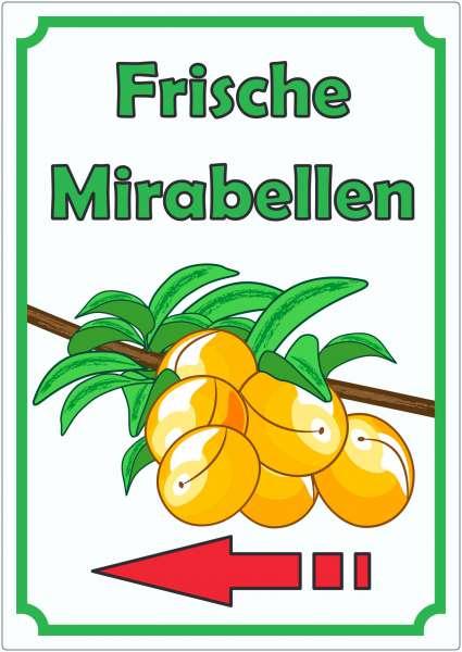 Frische Mirabellen Aufkleber Hochkant mit Pfeil links