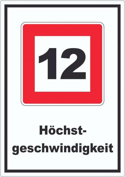 Höchstgeschwindigkeit 12 kmh nicht zu überschreiten Aufkleber mit Symbol und Text