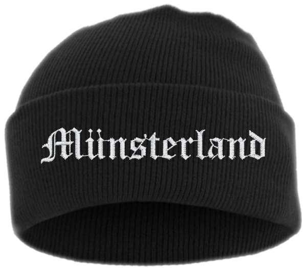 Münsterland Umschlagmütze - Altdeutsch - Bestickt - Mütze mit breitem Umschlag