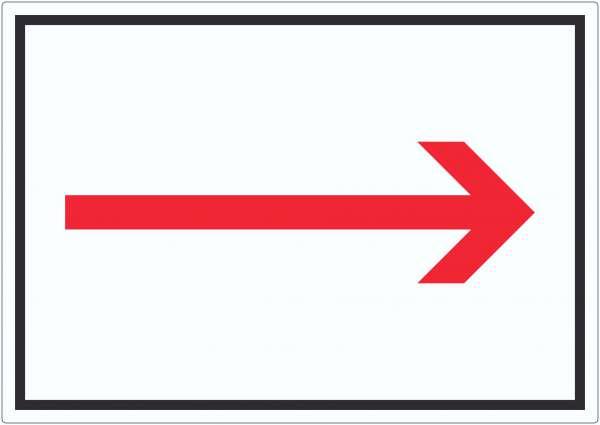 Richtungspfeil rechts Aufkleber waagerecht rot weiss schwarz Pfeil