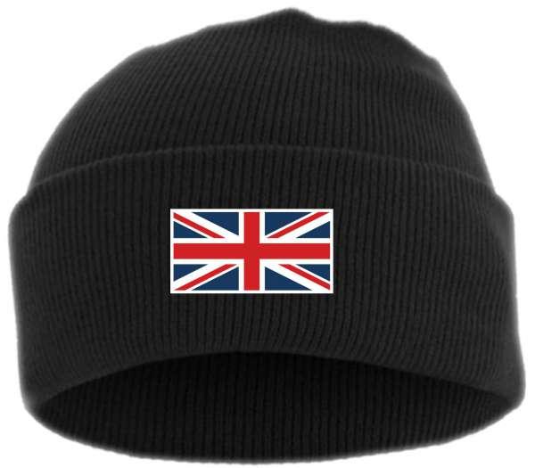 UK Union Jack Strickmütze Umschlagmütze - Bestickt - Mütze mit breitem Umschlag