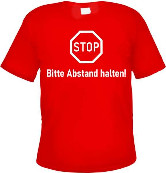 STOP - Bitte Abstand halten - Herren T-Shirt - Rot - Abstandhalten Tee Shirt