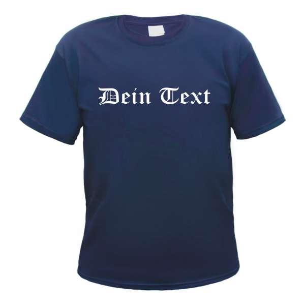 Individuelles T-Shirt navy - altdeutsch gerade - mit Wunschtext