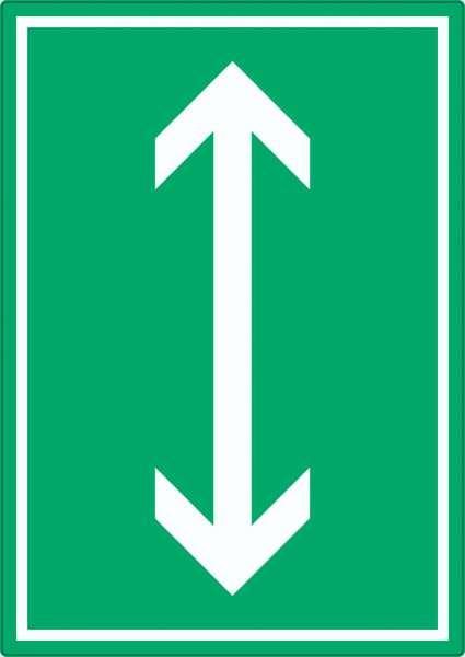 Richtungspfeil hoch runter Aufkleber hochkant weiss grün Pfeil