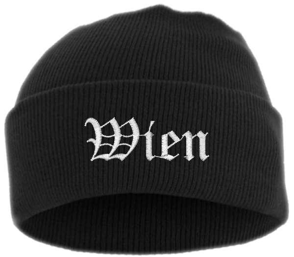 Wien Umschlagmütze - Altdeutsch - Bestickt - Mütze mit breitem Umschlag