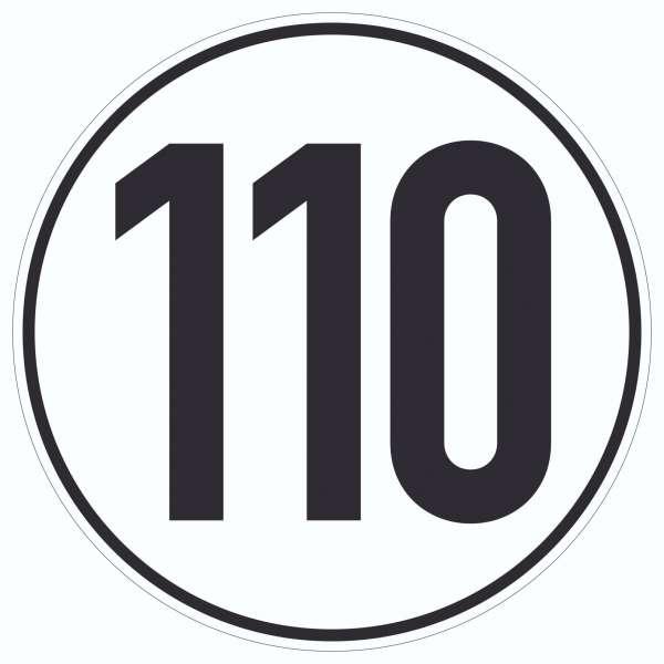 110km/h Geschwindigkeit Aufkleber Kreis