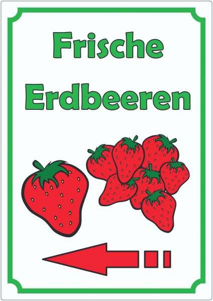 Werbeaufkleber Aufkleber Erdbeeren Hochkant mit Pfeil links